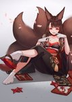 1girl akagi_(azur_lane) alternate_costume animal_ears azur_lane bangs breasts brown_hair cherry_blossoms cleavage commentary_request crossed_legs falling_petals finger_to_mouth fox_ears fox_tail fur-trimmed_kimono fur_trim geta gloves grey_background hair_ornament highres japanese_clothes kimono licking_lips long_hair looking_at_viewer medium_breasts multiple_tails obi outstretched_leg red_eyes sash shoe_dangle sidelocks simple_background sitting socks solo tail tongue tongue_out very_long_hair white_gloves whitecrow4444 x_hair_ornament