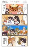 4girls 4koma :d >_< akagi_(kantai_collection) aquila_(kantai_collection) bench blue_hakama brown_hair comic commentary drooling food hair_between_eyes hakama highres holding holding_spoon jacket japanese_clothes kaga_(kantai_collection) kantai_collection lasagna_(food) littorio_(kantai_collection) long_hair long_sleeves megahiyo multiple_girls open_mouth red_hakama red_jacket short_hair side_ponytail sitting smile speech_bubble spoon tasuki translated twitter_username