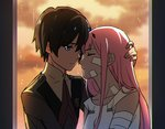 1boy 1girl bandaged_arm bandages bandaid bandaid_on_face bangs black_hair blue_eyes blue_horns closed_eyes collarbone commentary_request couple darling_in_the_franxx eyebrows_visible_through_hair face-to-face facing_another forehead-to-forehead hand_on_another's_head hetero hiro_(darling_in_the_franxx) horns long_hair long_sleeves looking_at_another military military_uniform mizu_no necktie nightgown oni_horns pink_hair red_horns red_neckwear short_hair sleeveless uniform zero_two_(darling_in_the_franxx)