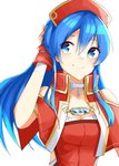 1girl blue_eyes blue_hair capelet closed_mouth fire_emblem fire_emblem:_fuuin_no_tsurugi hand_in_hair hat highres lilina long_hair red_hat simple_background smile solo tpicm upper_body white_background