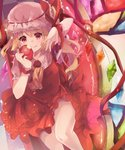 1girl adapted_costume apple ascot bangs blonde_hair blush brooch checkered checkered_floor commentary couch cowboy_shot diamond_(gemstone) dress fang fang_out flandre_scarlet food from_above fruit hat hat_ribbon haya_taro_pochi highres holding holding_food holding_fruit jewelry knee_up lace-trimmed_hat lace-trimmed_neckwear light_particles looking_at_viewer mob_cap on_couch purple_eyes red_dress red_eyes red_ribbon red_theme reflective_eyes ribbon short_hair short_sleeves side_ponytail sidelocks sitting slit_pupils smile solo stained_glass thighs touhou white_headwear wings wrist_cuffs