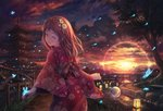 1girl bench brown_hair bug butterfly closed_eyes cloud cloudy_sky facing_viewer fence flower hair_flower hair_ornament highres insect lantern medium_hair open_mouth original outdoors pagoda scenery sky smile solo soraizumi sunset tree wooden_bridge