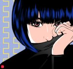1girl bangs blue_hair chris_re5 covered_mouth eyebrows eyelashes face highres original pink_eyes signature solo turtleneck