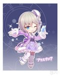 1girl anastasia_(idolmaster) bangs blue_eyes bow breasts chibi collar commentary_request cross crystal dark_background dress eyebrows_visible_through_hair flower full_body gem gloves hat hat_bow hat_ribbon ice ice_crystal idolmaster idolmaster_cinderella_girls jewelry lavender_dress lavender_legwear long_sleeves necklace puffy_sleeves purple_bow purple_coat purple_dress purple_ribbon qixi_cui_xing ribbon rose short_hair silver_hair socks solo sparkle uesaka_sumire white_flower white_footwear white_rose winter_clothes