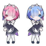 2girls animated blue_eyes blue_hair chibi dancing detached_sleeves hair_ornament hair_over_one_eye hair_ribbon leizero light_smile maid multiple_girls pink_eyes pink_hair ram_(re:zero) re:zero_kara_hajimeru_isekai_seikatsu rem_(re:zero) ribbon short_hair simple_background the_monkey ugoira white_background white_legwear