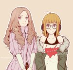 2girls alternate_hair_length alternate_hairstyle bangs behind-the-head_headphones blunt_bangs brown_hair csyko fur-trimmed_jacket fur_trim glasses green_jacket jacket long_hair multiple_girls okumura_haru orange_hair persona persona_5 purple_eyes ribbed_sweater sakura_futaba short_hair sweater twitter_username wavy_hair