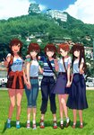 5girls :d ;) alternate_costume backpack bag blew_andwhite blue_skirt brown_eyes brown_hair building casual clothes_around_waist commentary_request denim fubuki_(kantai_collection) full_body green_eyes grin hatsuyuki_(kantai_collection) highres holding_hands i-401_(kantai_collection) jacket jacket_around_waist jeans kantai_collection long_hair long_skirt looking_at_viewer looking_to_the_side low_ponytail low_twintails miyuki_(kantai_collection) mountain multiple_girls odd_one_out one_eye_closed open_mouth orange_jacket pagoda pants photo_background ponytail raglan_sleeves scenery shirayuki_(kantai_collection) shirt shoes short_hair short_ponytail skirt smile sneakers twintails v v-shaped_eyebrows white_shirt