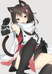 1girl animal_ears armlet asymmetrical_legwear black_gloves black_hair black_legwear black_neckwear black_skirt brown_eyes cat_ears cat_tail d: double-breasted elbow_gloves eyebrows_visible_through_hair fang gloves grey_background hair_ornament highres kantai_collection looking_at_viewer miniskirt nebusoku open_mouth pleated_skirt remodel_(kantai_collection) scarf sendai_(kantai_collection) simple_background sitting skirt sleeveless solo tail white_scarf