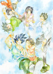 3boys 3girls :d ake_(ake54) black_eyes black_hair blue_background blue_eyes brothers chi-chi_(dragon_ball) chinese_clothes closed_eyes couple dougi dragon_ball dragon_ball_z falling family father_and_daughter father_and_son glasses grandfather_and_granddaughter grandmother_and_granddaughter green_shirt happy hetero highres holding_hands looking_at_another looking_up mother_and_daughter mother_and_son multiple_boys multiple_girls open_mouth pan_(dragon_ball) pink_shirt shirt short_hair siblings simple_background smile son_gohan son_gokuu son_goten spiked_hair traditional_media uncle_and_niece videl watercolor_(medium) white_background white_shirt