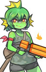 1girl blush character_request closed_mouth collarbone dog_tags eyebrows fish green_hair green_skin gun holding holding_gun holding_weapon looking_at_viewer nuclear_throne red_eyes short_hair smile solo wahae weapon