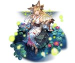 1girl animal_ears animal_print bangs bare_shoulders barefoot blonde_hair braid breasts bug collar collarbone erune eyebrows_visible_through_hair firefly fish fish_print full_body granblue_fantasy hair_ornament holding insect japanese_clothes kimono lily_pad long_hair looking_at_viewer medium_breasts minaba_hideo obi official_art open_mouth purple_eyes rock sandals sash sitting smile solo transparent_background water wide_sleeves yuisis_(granblue_fantasy)