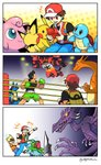 +++ 3boys 3koma armband backpack bag bare_arms black_hair boxing_gloves brown_hair camisole charizard claws comic commentary commentary_request emcee flying_sweatdrops gloom_(expression) glowing glowing_eyes highres holding holding_poke_ball incineroar ivysaur jigglypuff little_mac looking_at_another lucario lucas male_focus metroid mother_(game) multiple_boys open_mouth outstretched_arm pants pichu pikachu poke_ball poke_ball_(generic) pokemon pokemon_(creature) pokemon_(game) pokemon_frlg punch-out!! red_(pokemon) ridley shaded_face shirt short_hair short_sleeves shorts silent_comic smile sparkling_eyes spikes squirtle super_smash_bros. tail