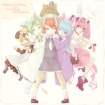 6+girls animal_ears armband bare_shoulders birthday blonde_hair blue_hair brown_eyes bunny_ears cat_ears character_name closed_eyes commentary_request copyright_name dejiko di_gi_charat dress english green_eyes green_hair grin hair_ornament high_heels instrument long_hair looking_back mike_(di_gi_charat) multiple_girls on_head one_eye_closed open_mouth parted_lips pink_eyes pink_hair piyoko puchiko purple_eyes red_hair ribbon rinna_(di_gi_charat) short_hair skirt slit_pupils smile standing tail toritoma_(sweetandsour) triangle_(instrument) v