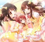3girls ;) bangs black_hair blurry blurry_background blush bow bracelet brown_eyes brown_hair collared_dress commentary doughnut dress eating flower food hair_bow hair_flower hair_ornament hand_to_own_mouth highres holding holding_food idolmaster idolmaster_cinderella_girls jewelry kofa_(ikyurima) looking_at_viewer looking_back mellow_yellow mizumoto_yukari multiple_girls nakano_yuka neck_ribbon ok_sign one_eye_closed ponytail purple_eyes red_hair red_neckwear ribbon shiina_noriko short_sleeves sidelocks skirt_hold sleeveless sleeveless_dress smile two_side_up yellow_bow yellow_dress