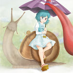1girl blue_hair commentary_request dress geta heterochromia karakasa_obake kisaragi_koushi rain red_eyes short_hair skirt smile snail solo tatara_kogasa tongue tongue_out touhou umbrella vest