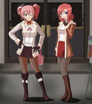 2girls :d anime_coloring bag bangs blush boots brown_eyes brown_gloves brown_jacket brown_legwear canadawbd choker commentary contrapposto crossover fur_trim gloves grey_jacket grey_legwear hair_between_eyes handbag highres holding_bag idolmaster idolmaster_cinderella_girls jacket jougasaki_mika knee_boots lipstick long_sleeves looking_at_viewer love_live! love_live!_school_idol_project makeup miniskirt multiple_girls neck_ribbon nishikino_maki one_eye_closed open_mouth outdoors pantyhose pink_hair purple_eyes purple_footwear purple_gloves purple_skirt red_choker red_hair red_lipstick red_skirt ribbon shirt short_hair skirt smile standing twintails white_shirt