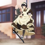 1girl apron black_hair black_legwear blurry blurry_background bow bowtie breasts building closed_eyes day door dress frilled_dress frills full_body long_sleeves maid maid_apron maid_headdress medium_breasts original outdoors plant puffy_long_sleeves puffy_sleeves shoes short_hair skateboard skirt_hold sneakers solo stairs suzushiro_(suzushiro333) window