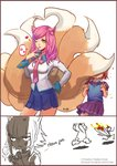 2girls 2koma academy_ahri ahri anger_vein angry animal_ears annie_hastur backpack bag bangs bear blush burning comic contrapposto covering_face cowboy_shot english fake_animal_ears finger_to_mouth fleeing fox_ears fox_tail hair_ornament hairclip hand_on_hip heart heart_hair_ornament league_of_legends lips long_hair miniskirt multiple_girls multiple_tails necktie one_eye_closed pink_hair pleated_skirt randoseru red_hair school_uniform scowl serafuku short_hair skirt songjikyo stick_figure surprised surprised_arms sweater_vest swept_bangs tail tibbers triangle_mouth watermark web_address wing_collar yellow_eyes
