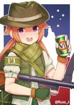 1girl artist_name australia blush brown_hair f1_(girls_frontline) fingerless_gloves girls_frontline gloves green_gloves green_headwear gun hat highres holding holding_gun holding_weapon jacy long_hair looking_at_viewer open_mouth puffy_short_sleeves puffy_sleeves purple_eyes short_sleeves smile solo submachine_gun twintails twitter_username upper_teeth weapon