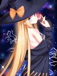 1girl abigail_williams_(fate/grand_order) absurdres amaroku_neko black_headwear blonde_hair blue_eyes bow closed_mouth fate/grand_order fate_(series) flower hat hat_bow head_tilt highres holding holding_flower long_hair long_sleeves looking_at_viewer off_shoulder orange_bow pink_flower shiny shiny_skin shoulder_blades solo standing straight_hair very_long_hair witch_hat