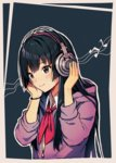 1girl akiyama_mio bangs beamed_eighth_notes black_eyes black_hair blue_background blush closed_mouth collared_shirt commentary eyebrows_visible_through_hair hands_on_headphones headphones hood hood_down hoodie k-on! long_hair looking_at_viewer musical_note neckerchief red_neckwear satchely shirt smile solo white_shirt wing_collar wristband