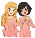 2girls black_hair blonde_hair braid green_eyes lillie_(pokemon) long_hair long_sleeves mizuki_(pokemon) multiple_girls nyonn24 open_mouth pajamas pink_pajamas pokemon pokemon_(game) pokemon_sm short_hair simple_background twin_braids white_background
