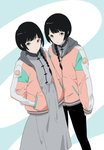 2girls bangs black_hair black_pants blue_background blunt_bangs braid chinese_clothes closed_mouth commentary_request dress grey_dress gumi. hands_in_pockets highres hood hood_down jacket long_sleeves looking_at_viewer mole mole_under_eye multiple_girls open_clothes open_jacket original pants pink_eyes siblings single_braid sisters smile standing twins two-tone_background white_background