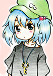 1girl alternate_costume black_shirt blue_eyes blue_hair blush colored_pencil_(medium) gradient_clothes hat highres jewelry kawashiro_nitori key key_necklace looking_at_viewer meme-tan_(bana_nan26) necklace pink_background shirt short_sleeves simple_background solo touhou traditional_media twintails