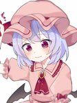 1girl arm_up ascot bangs bat_wings black_wings blush brooch closed_mouth collared_shirt commentary_request crying crying_with_eyes_open eringi_(rmrafrn) eyebrows_visible_through_hair hat head_tilt jewelry low_wings mob_cap pink_headwear pink_shirt puffy_short_sleeves puffy_sleeves purple_hair red_eyes red_neckwear remilia_scarlet shirt short_sleeves simple_background solo tears touhou translation_request white_background wings