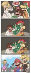 2girls 3boys 4koma alternate_color ayyk92 black_dress blonde_hair blue_eyes blue_overalls bowser bowsette bracelet breasts bridal_veil cleavage comic commentary crown dress elbow_gloves english_commentary english_text facial_hair fang flat_color genderswap genderswap_(mtf) gloves hat highres horns jewelry luigi mario mario_(series) mario_tennis mini_crown motion_lines multiple_boys multiple_girls mustache new_super_mario_bros._u_deluxe no overalls personification princess_peach rejection silent_comic single_letter smile speech_bubble spiked_armlet spiked_bracelet spiked_shell spikes super_crown super_mario_odyssey tennis transformation tuxedo veil wedding_dress