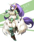 1girl absurdly_long_hair angry animal_ear_fluff animal_ears armor breasts claws cleavage close-up closed_mouth collarbone colored_eyelashes ears eye_contact eyebrows eyelashes face facing_viewer frown fur fur_collar furry highres holding holding_knife holding_weapon horn knife large_breasts legend_of_mana long_hair looking_at_another looking_at_viewer looking_away looking_to_the_side navel ocaritna profile purple_eyes purple_hair seiken_densetsu shoulder_armor sierra solo tail thick_eyebrows upper_body very_long_hair weapon wolf_ears wolf_girl
