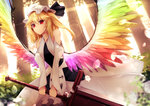 1girl alternate_costume alternate_weapon alternate_wings bare_shoulders blonde_hair blurry day depth_of_field detached_sleeves dress dutch_angle feathered_wings flandre_scarlet hat hat_ribbon highres lens_flare looking_at_viewer mob_cap multicolored multicolored_wings rainbow_order red_eyes ribbon short_hair side_ponytail sinkai smile solo sunlight sword touhou tree weapon white_dress wings