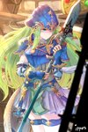 1girl armor artist_name belt blue_armor blue_eyes blush breastplate commentary_request detached_sleeves fire_emblem fire_emblem:_path_of_radiance gloves green_eyes green_hair helmet highres holding holding_weapon indoors ippers long_hair nephenee polearm shadow shield shiny shiny_hair skirt solo spear thighhighs weapon