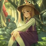 1girl absurdres bangs blonde_hair blush brown_headwear commentary_request dappled_sunlight day feet_out_of_frame flower forest goback hair_ornament hand_on_headwear highres huge_filesize kneehighs leaf long_hair long_sleeves looking_afar looking_away moriya_suwako nature outdoors parted_bangs parted_lips purple_skirt purple_vest rope shirt sidelocks sitting skirt solo stairs statue stone_lantern sunlight torii touhou tree vest white_flower white_legwear white_shirt yellow_eyes