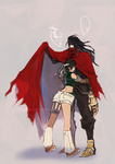 ... 1boy 1girl armor back bare_shoulders black_hair boots brown_hair clawed_gauntlets cloak closed_eyes doraeshi final_fantasy final_fantasy_vii fishnets headband height_difference hug leg_warmers long_hair midriff short_hair short_shorts shorts sleeveless sleeveless_turtleneck thighhighs turtleneck vincent_valentine yuffie_kisaragi
