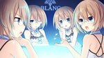 4girls bare_shoulders blanc blue_eyes blush brave_neptune brown_hair glasses looking_at_viewer multiple_girls multiple_persona neptune_(series) official_art one_eye_closed open_mouth short_hair tsunako