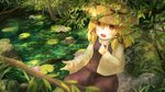 1girl absurdres blonde_hair blurry blush commentary_request day depth_of_field ekaapetto flower hair_between_eyes hair_ribbon hand_on_own_chest hat high_collar highres lily_pad long_sleeves looking_at_viewer lotus medium_hair moriya_suwako open_mouth outdoors purple_skirt purple_vest ribbon rock shirt sidelocks sitting sitting_on_rock skirt solo touhou tree vest water white_shirt yellow_eyes