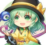 1girl :d bangs black_headwear blush bow chibi circle commentary_request eyebrows_visible_through_hair frilled_shirt_collar frilled_sleeves frills green_eyes green_hair green_skirt hair_between_eyes hat hat_bow heart heart_of_string komeiji_koishi long_sleeves open_mouth shangguan_feiying shirt short_hair sidelocks simple_background skirt smile solo third_eye touhou upper_body white_background wide_sleeves yellow_bow yellow_shirt
