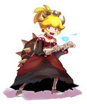 1girl black_dress blonde_hair blue_fire bone bowsette breathing_fire chiimako choker commentary_request crown dress dry_bowser fire high_heels holding mario_(series) red_eyes sharp_teeth skeleton solo super_crown teeth torn_clothes