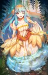 1girl aqua_hair artist_name bare_shoulders breasts bridal_gauntlets bride cleavage covered_navel dress fire_emblem fire_emblem:_rekka_no_ken fire_emblem_heroes full_body hair_ornament large_breasts long_hair ninian one_eye_closed open_mouth partially_submerged red_eyes sidelocks signature skirt_hold smile solo standing streya wedding_dress