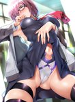 1girl armpits ass_visible_through_thighs bad_id bad_pixiv_id bare_shoulders belly_peek black-framed_eyewear black_dress black_legwear blush breasts cameltoe commentary_request cowboy_shot dress dress_lift embarrassed eyebrows_visible_through_hair fate/grand_order fate_(series) from_below glasses glint hair_over_one_eye highres jacket large_breasts leotard leotard_under_clothes looking_at_viewer looking_away mash_kyrielight navel necktie nonohachi off_shoulder one_eye_closed pink_hair purple_eyes short_hair skindentation solo thigh_strap thighhighs thighs white_leotard