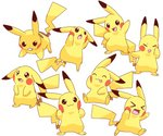 :3 :d :o >_< akanbe blush_stickers brown_eyes closed_eyes closed_mouth creature expressions gen_1_pokemon hand_on_own_face highres jumping lai_(pixiv1814979) looking_at_viewer looking_away looking_up no_humans open_mouth pikachu pokemon pokemon_(creature) pose running sad simple_background sitting smile standing tongue tongue_out too_many too_many_pikachu white_background