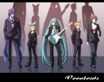 2boys 3girls aqua_hair everyone formal ghost_in_the_shell ghost_in_the_shell_lineup ghost_in_the_shell_stand_alone_complex guitar hatsune_miku instrument kagamine_len kagamine_rin kaito lineup meiko multiple_boys multiple_girls pant_suit parody suit tsukumo twintails vocaloid