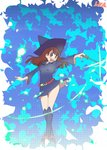 1girl :d bangs blunt_bangs blush breasts brown_eyes brown_hair eyebrows_visible_through_hair full_body halftone hat hys-d kagari_atsuko little_witch_academia long_hair long_sleeves looking_at_viewer luna_nova_school_uniform open_mouth outstretched_arms pinky_out school_uniform smile solo thighs wand witch witch_hat