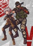 1boy 1girl ahoge assault_rifle bandana beard boots brown_hair camouflage camouflage_jacket camouflage_pants commentary crossover emblem english_text eyepatch facial_hair fingerless_gloves flashlight gentiane_(girls_frontline) girls_frontline gloves gun h&k_hk416 handgun highlights highres knee_pads mechanical_arm metal_gear_(series) metal_gear_solid_v multicolored_hair pants persocon93 red_eyes red_hair rifle scar scar_across_eye silver_hair suppressor tactical_clothes venom_snake weapon