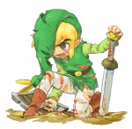 1boy belt blonde_hair blood boots brown_eyes cuts ezlo hat holding holding_sword holding_weapon injury kneeling left-handed link male_focus open_mouth pointy_ears shield sword tears the_legend_of_zelda the_legend_of_zelda:_the_minish_cap torn_clothes tunic usikani weapon
