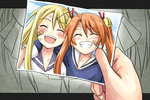 2girls arm_around_neck bad_id bandaid bell blonde_hair closed_eyes grin kagurazaka_asuna long_hair mahou_sensei_negima! multiple_girls open_mouth orange_hair photo_(object) school_uniform smile twintails younger youyan yukihiro_ayaka