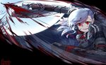 1girl alternate_costume armor axe bangs black_ribbon blood blood_splatter bloody_clothes breasts crazy_eyes crazy_smile eyebrows_visible_through_hair floating_hair full_moon girls_frontline gloves gun hair_ribbon highres holding holding_gun holding_shield holding_weapon large_breasts leonat long_hair looking_at_viewer moon night open_mouth red_eyes ribbon shield shotgun silver_hair smile solo spas-12 spas-12_(girls_frontline) swinging twintails upper_body weapon
