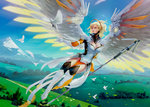 1girl adapted_costume alternate_legwear alternate_wings angel_wings artist_name bird blonde_hair blue_eyes blue_sky bodysuit breasts brown_legwear cleavage commentary day dove faulds feathered_wings feathers flying full_body glowing glowing_wings greaves hair_tie halo high_ponytail hill holding holding_staff landscape large_breasts large_wings long_hair looking_at_another mechanical_halo mercy_(overwatch) mountain nose oliver_wetter outdoors outstretched_arm overwatch pelvic_curtain pink_lips signature sky solo spread_wings staff thighhighs white_bodysuit white_feathers wings yellow_wings