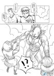 !? 1girl 4boys armor bald breasts check_translation chinese comic facial_hair gauntlets glasses greyscale headband hidden_eyes loincloth madjian midriff mohawk monochrome multiple_boys muscle no_eyebrows original short_hair smoke translation_request watermark web_address